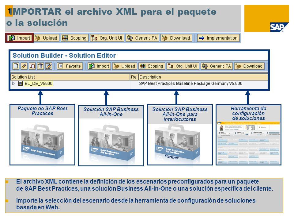 IMPORTAR el archivo XML para el paquete o la solución