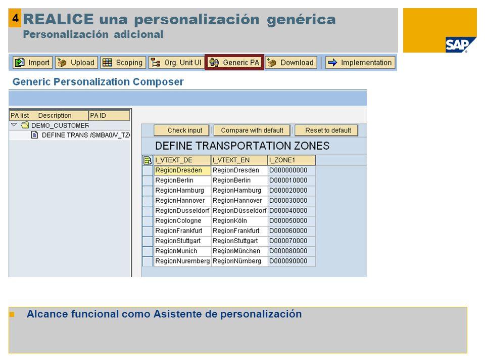 REALICE una personalización genérica Personalización adicional