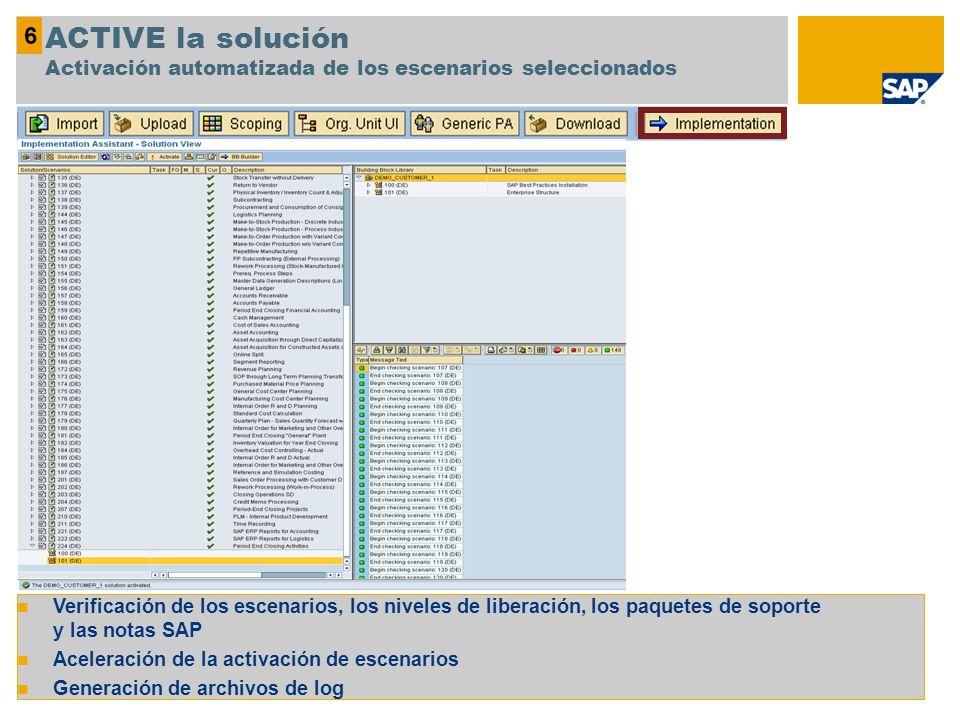 6 ACTIVE la solución Activación automatizada de los escenarios seleccionados.