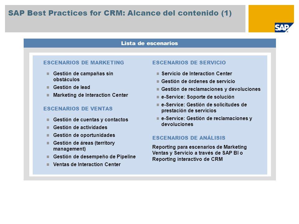 SAP Best Practices for CRM: Alcance del contenido (1)