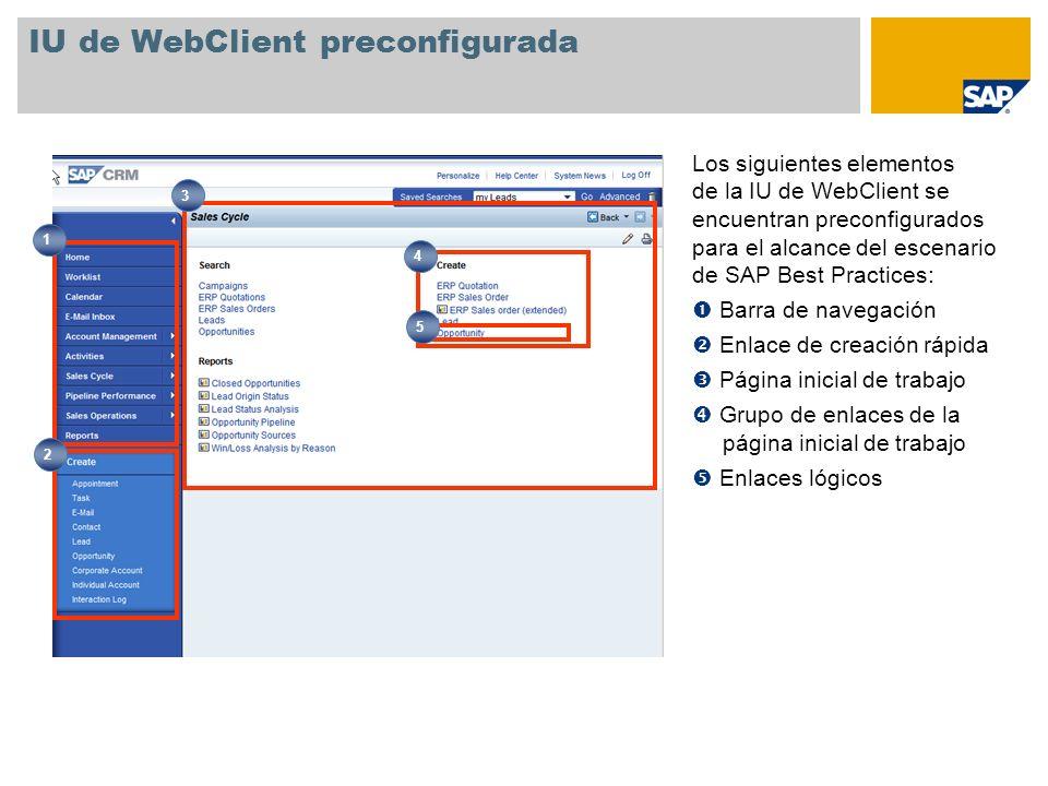 IU de WebClient preconfigurada