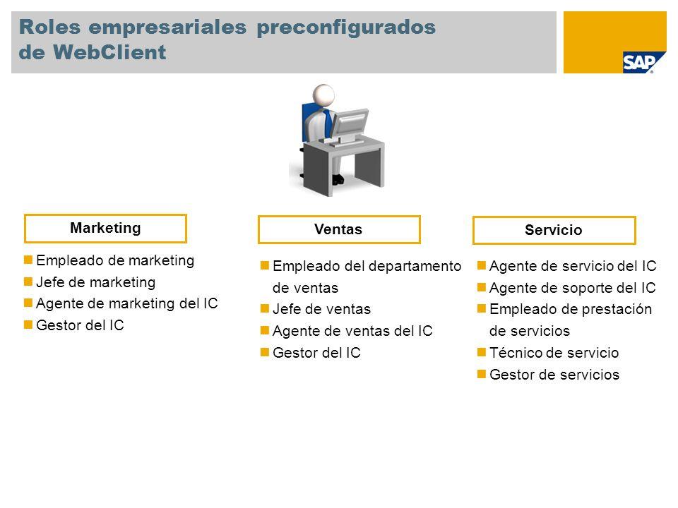 Roles empresariales preconfigurados de WebClient