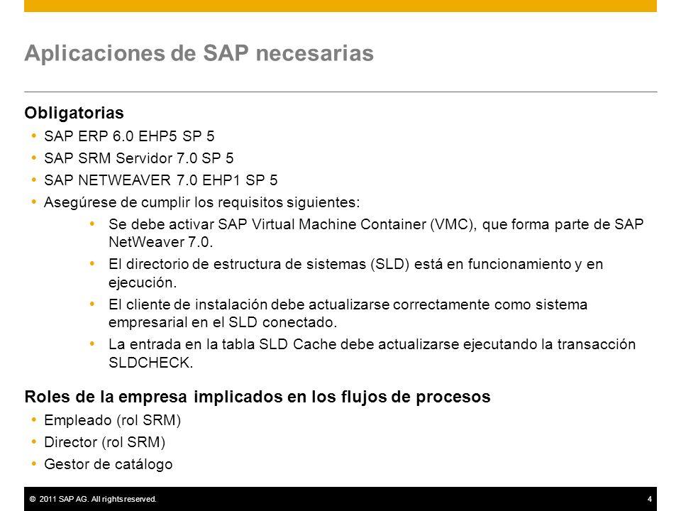 Aplicaciones de SAP necesarias