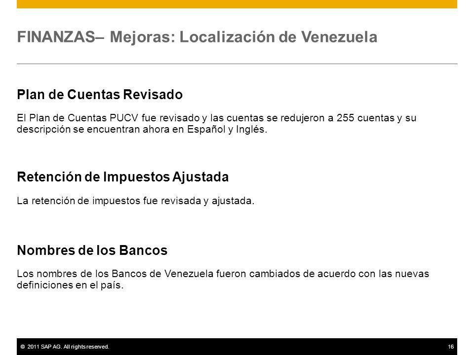 FINANZAS– Mejoras: Localización de Venezuela