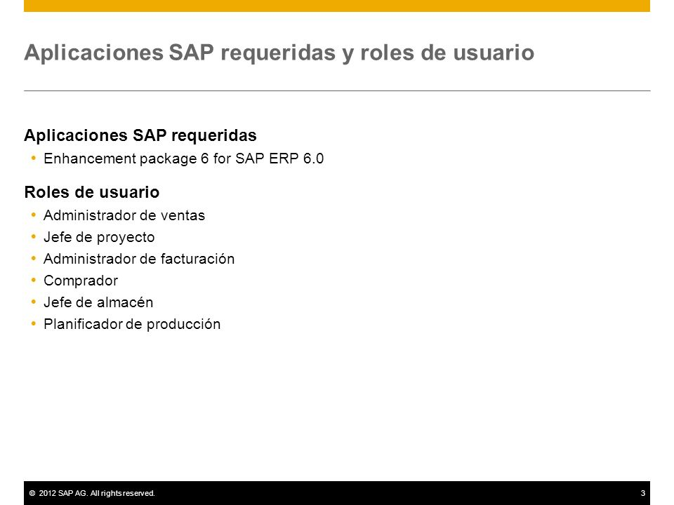 Aplicaciones SAP requeridas y roles de usuario