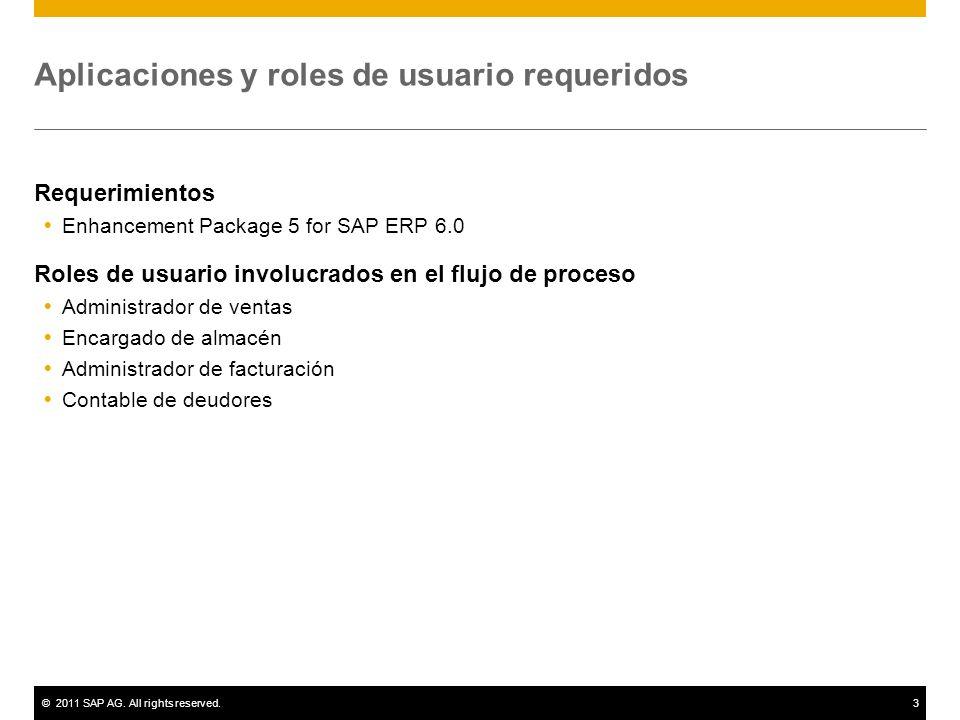 Aplicaciones y roles de usuario requeridos
