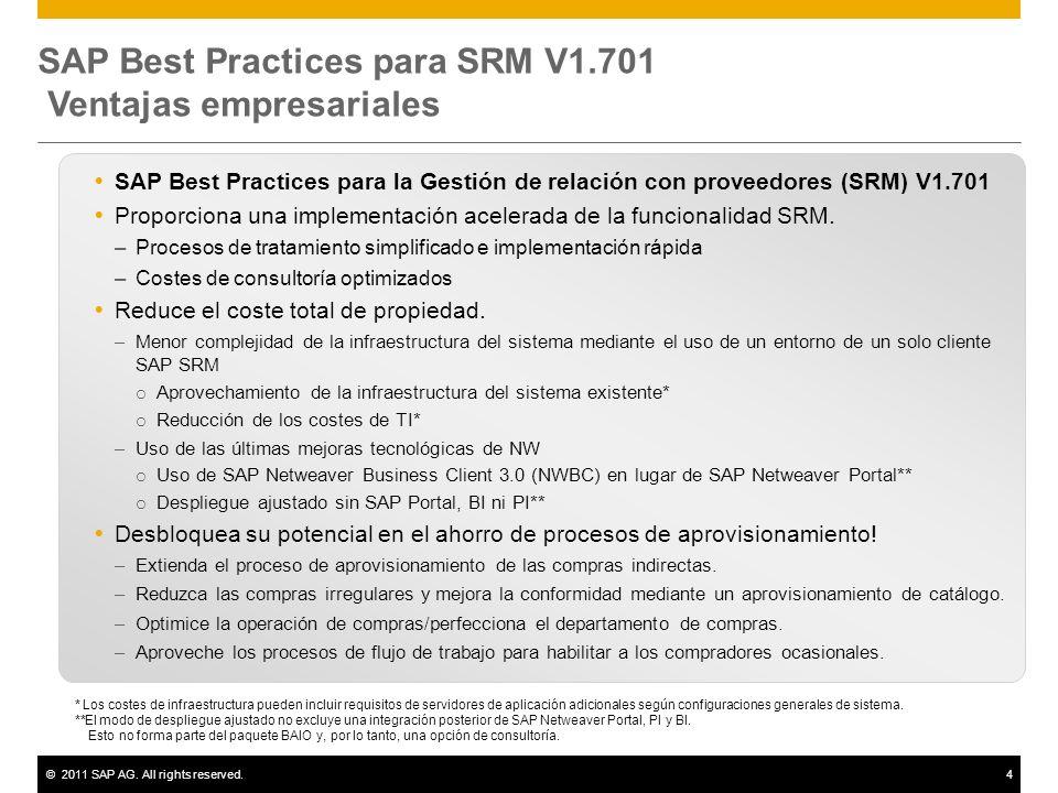 SAP Best Practices para SRM V1.701 Ventajas empresariales