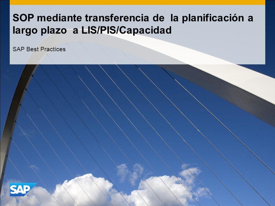SOP mediante transferencia de la planificación a largo plazo a LIS/PIS/Capacidad