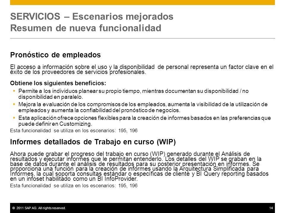 SERVICIOS – Escenarios mejorados Resumen de nueva funcionalidad