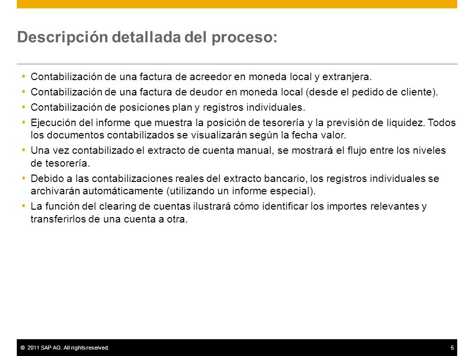 Descripción detallada del proceso: