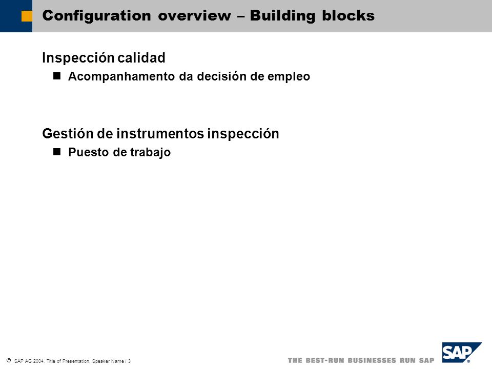 Configuration overview – Building blocks