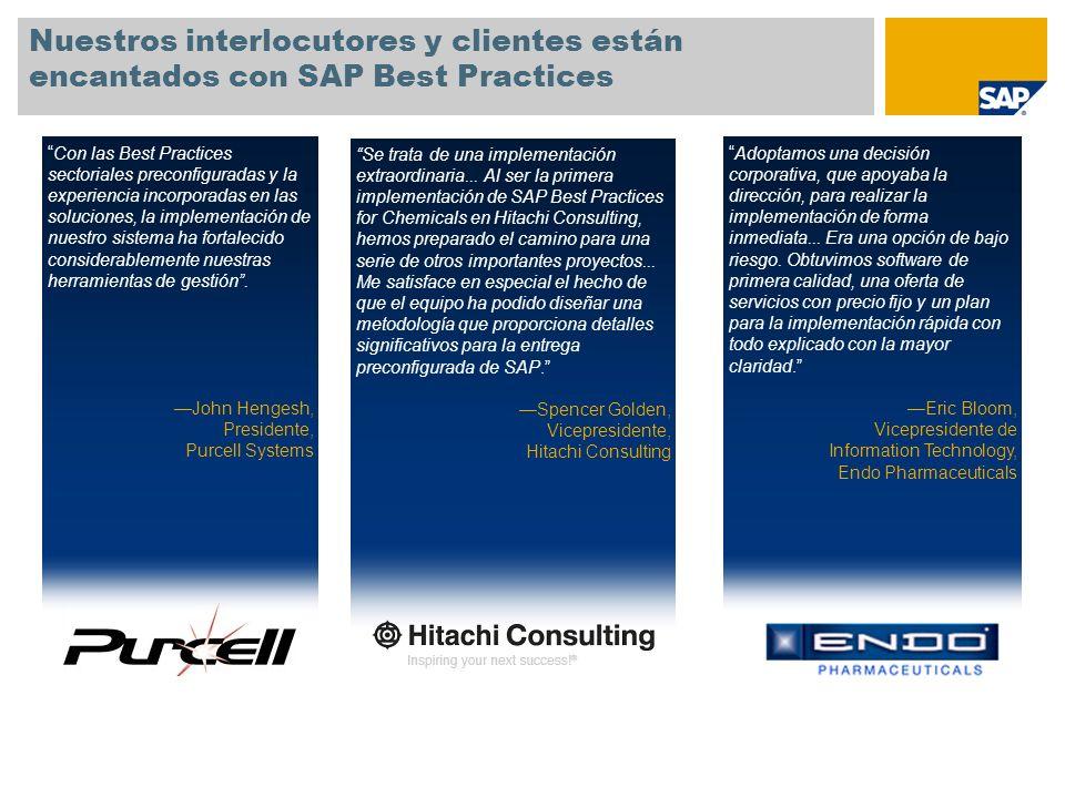 SAP TechEd '04 Nuestros interlocutores y clientes están encantados con SAP Best Practices.