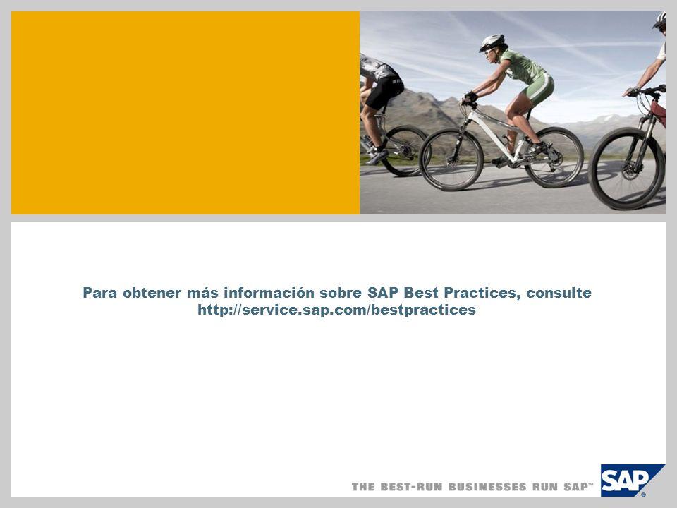 SAP TechEd '04 Para obtener más información sobre SAP Best Practices, consulte http://service.sap.com/bestpractices.
