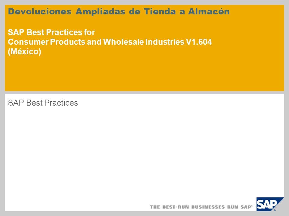 Devoluciones Ampliadas de Tienda a Almacén SAP Best Practices for Consumer Products and Wholesale Industries V1.604 (México)