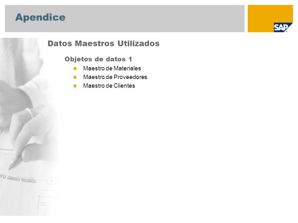 Apendice Datos Maestros Utilizados Objetos de datos 1