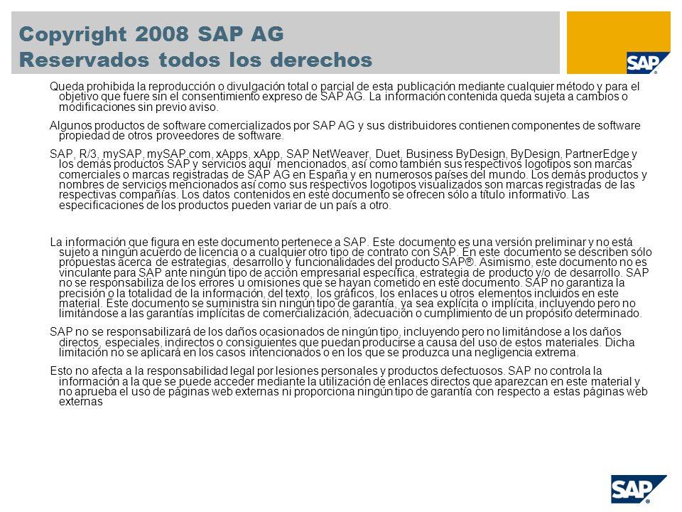 Copyright 2008 SAP AG Reservados todos los derechos