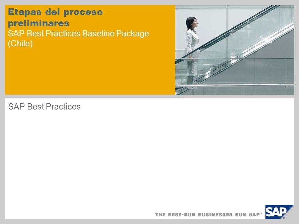 Etapas del proceso preliminares SAP Best Practices Baseline Package (Chile)