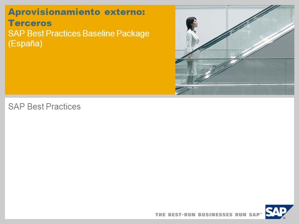 Aprovisionamiento externo: Terceros SAP Best Practices Baseline Package (España)