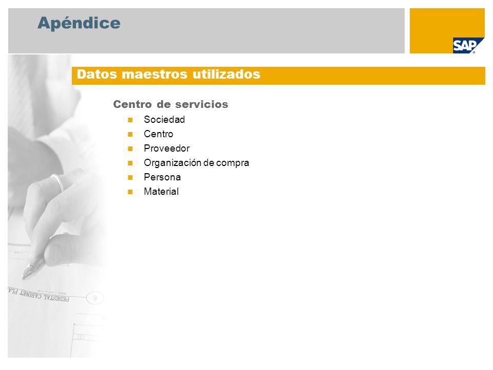 Apéndice Datos maestros utilizados Centro de servicios Sociedad Centro