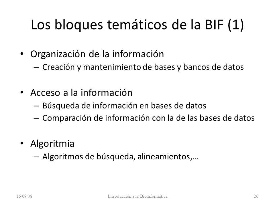 Los bloques temáticos de la BIF (1)