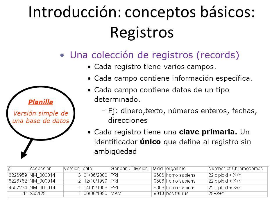 Introducción: conceptos básicos: Registros