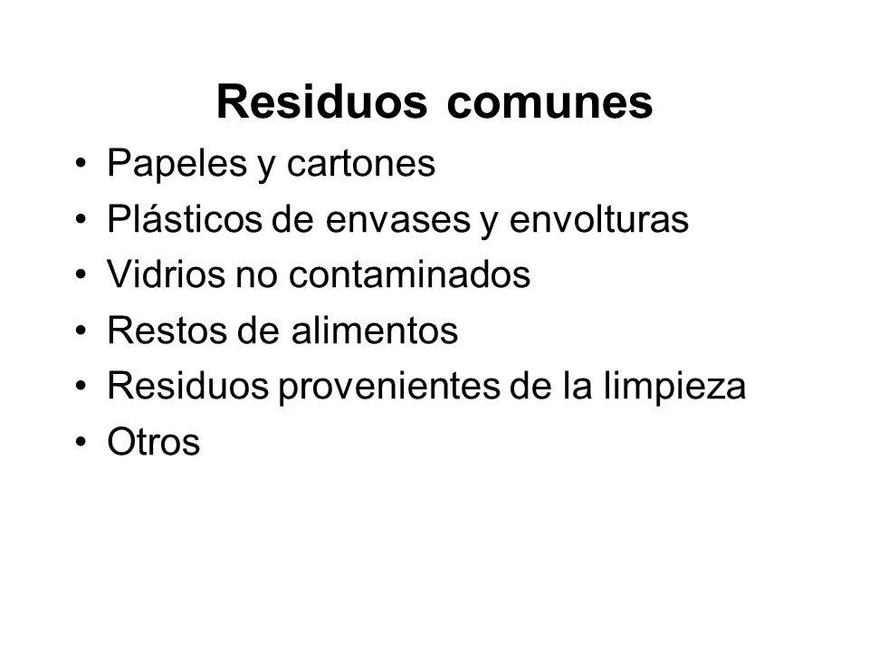 Residuos comunes Papeles y cartones Plásticos de envases y envolturas