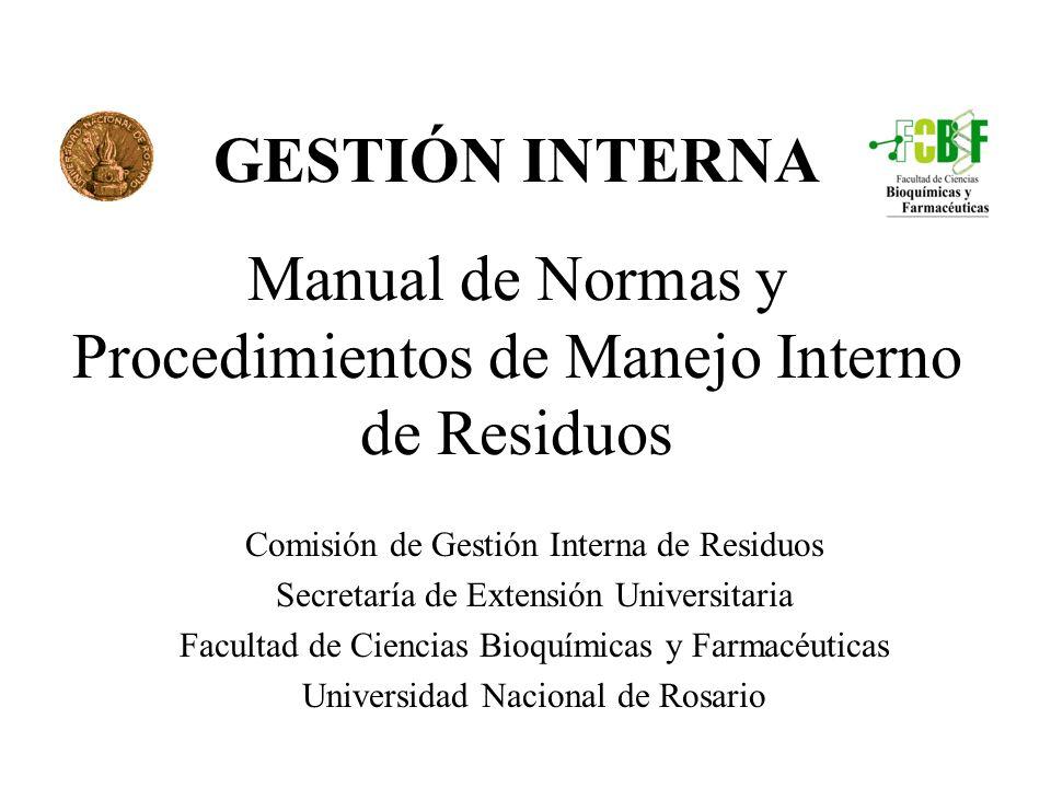 GESTIÓN INTERNA Manual de Normas y Procedimientos de Manejo Interno de Residuos