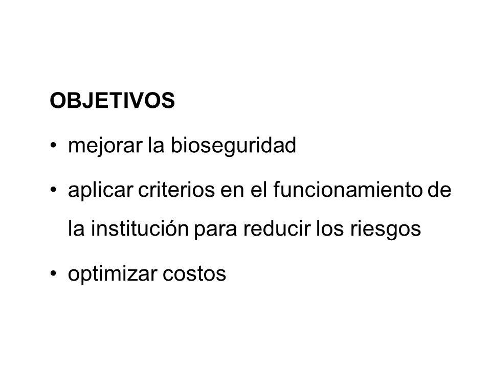 OBJETIVOS mejorar la bioseguridad. aplicar criterios en el funcionamiento de la institución para reducir los riesgos.