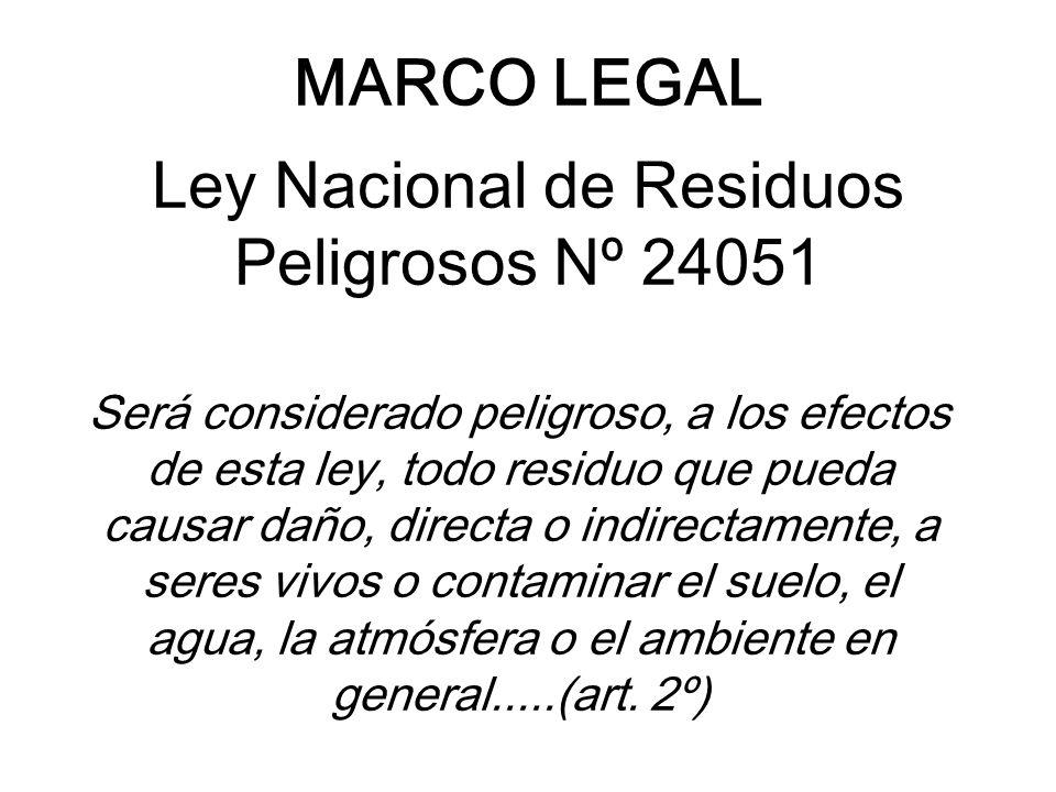 MARCO LEGAL Ley Nacional de Residuos Peligrosos Nº 24051