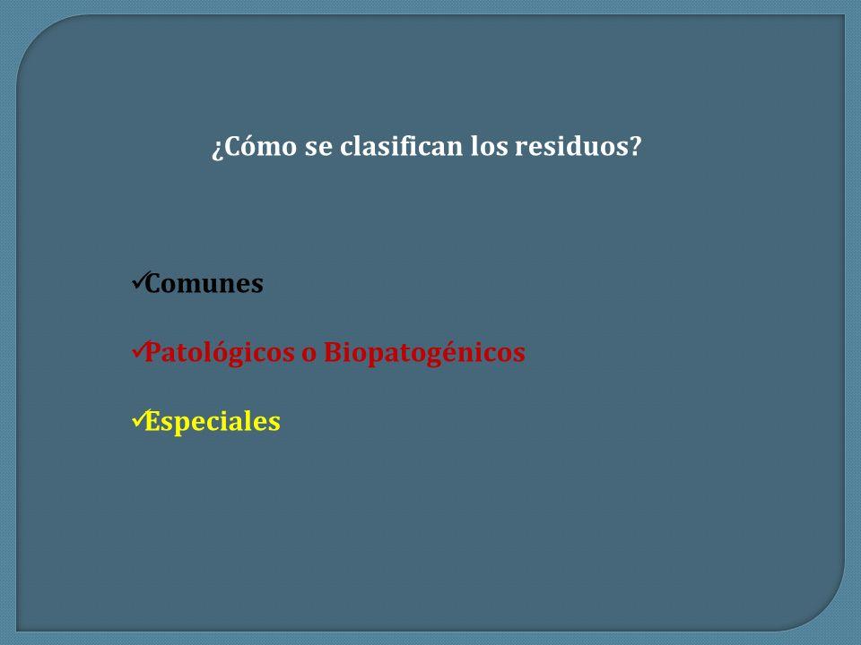 ¿Cómo se clasifican los residuos