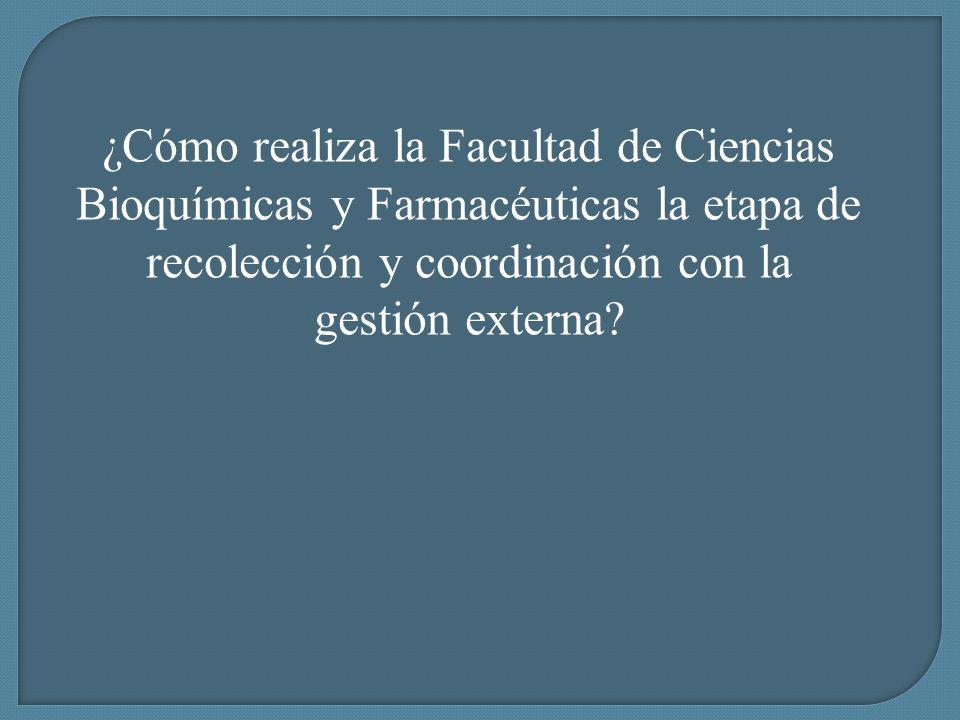 ¿Cómo realiza la Facultad de Ciencias Bioquímicas y Farmacéuticas la etapa de recolección y coordinación con la gestión externa