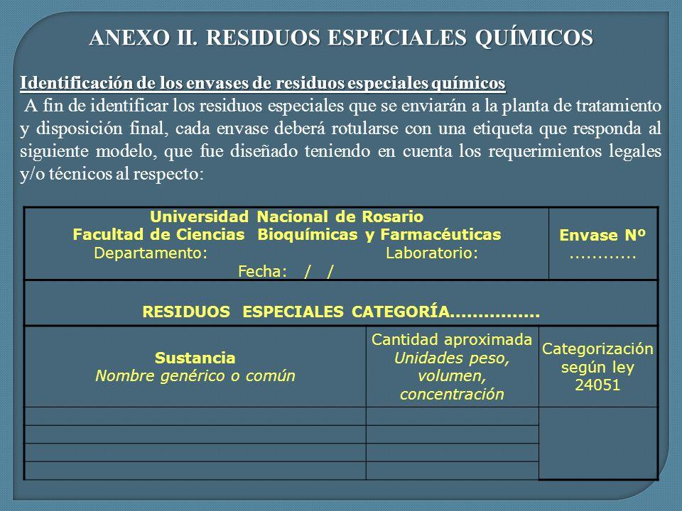 ANEXO II. RESIDUOS ESPECIALES QUÍMICOS