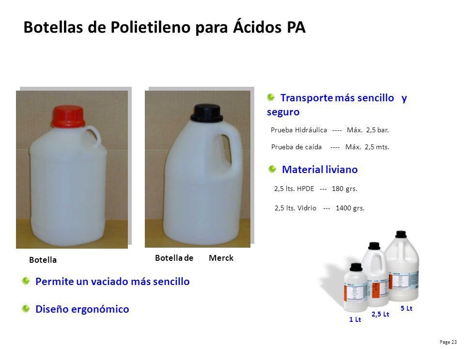 Botellas de Polietileno para Ácidos PA