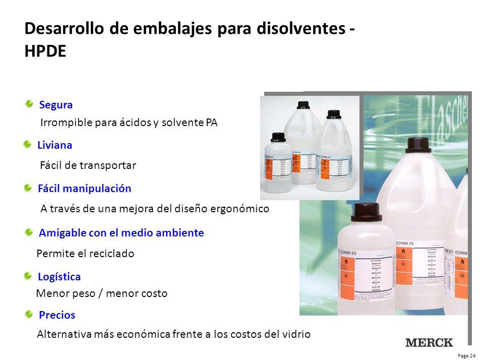 Desarrollo de embalajes para disolventes - HPDE