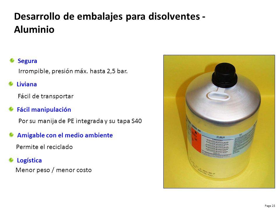 Desarrollo de embalajes para disolventes - Aluminio