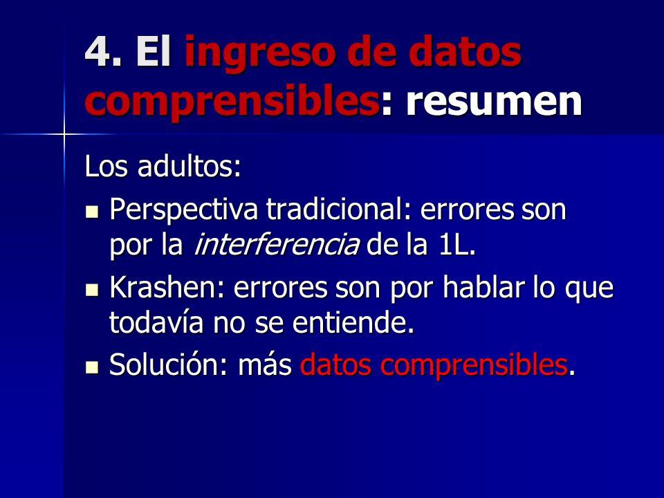 4. El ingreso de datos comprensibles: resumen