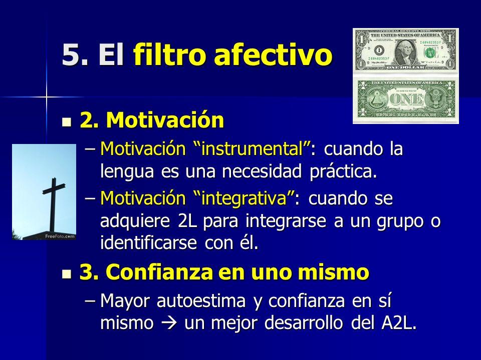 5. El filtro afectivo 2. Motivación 3. Confianza en uno mismo