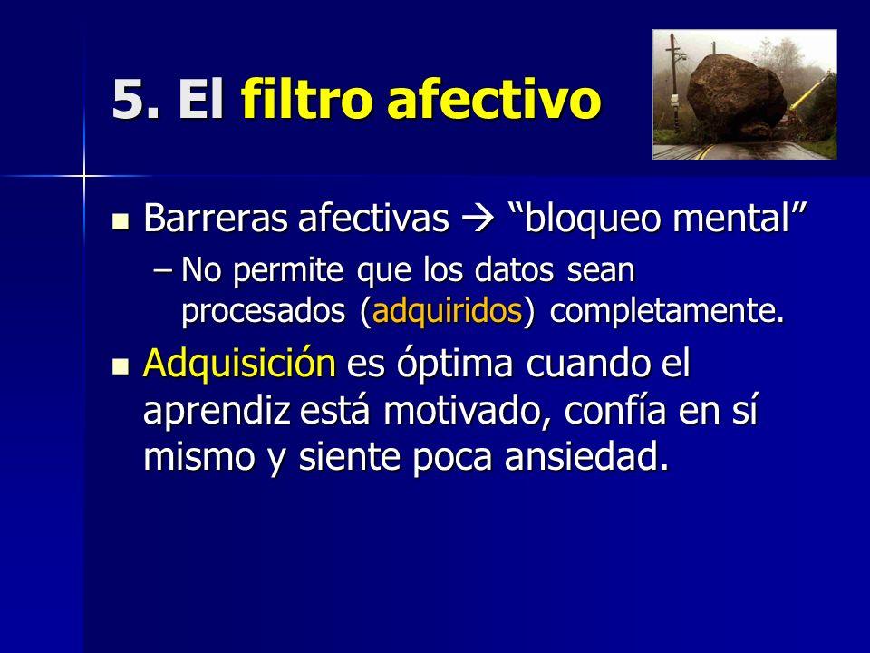 5. El filtro afectivo Barreras afectivas  bloqueo mental