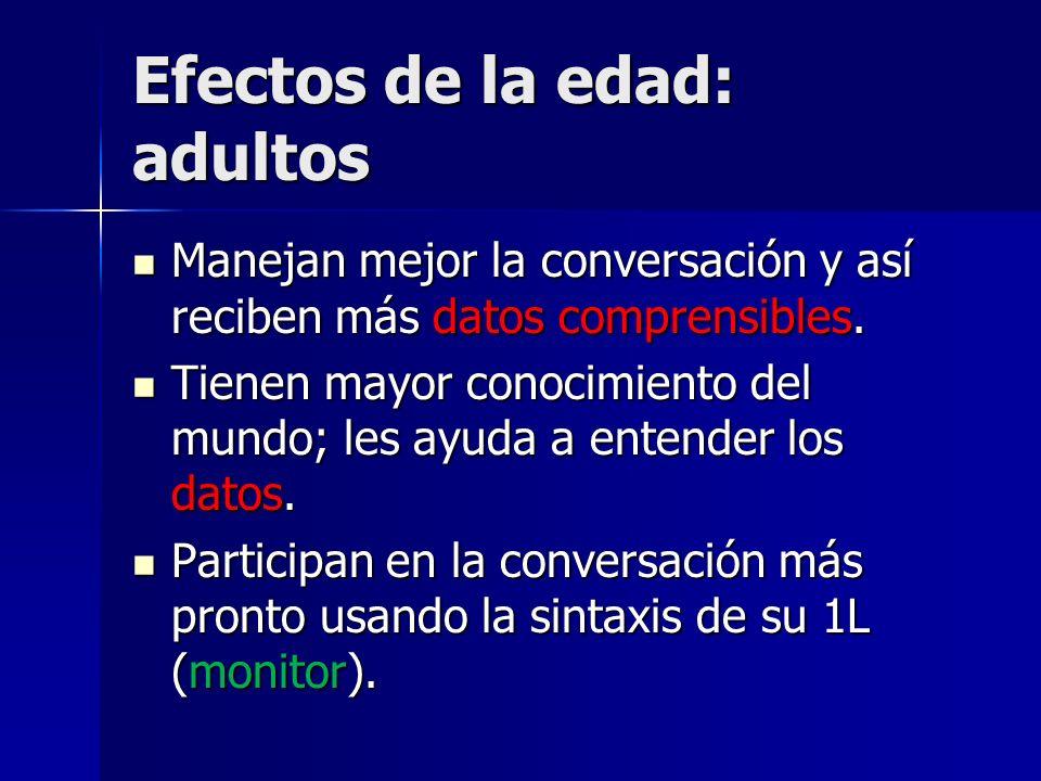 Efectos de la edad: adultos