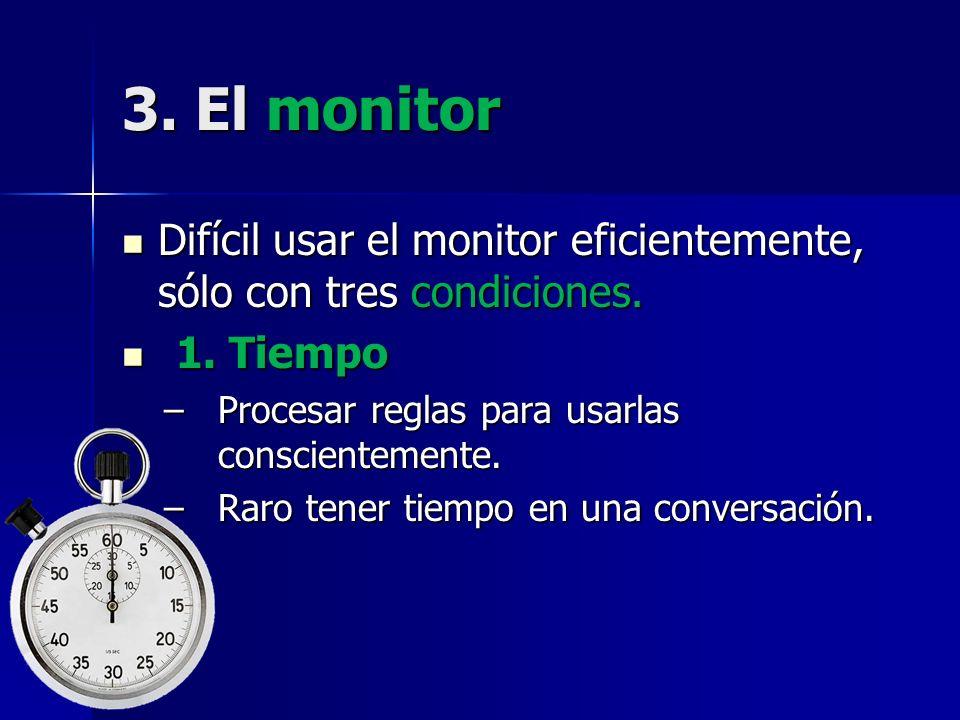 3. El monitor Difícil usar el monitor eficientemente, sólo con tres condiciones. 1. Tiempo. Procesar reglas para usarlas conscientemente.