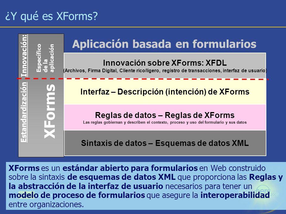 XForms ¿Y qué es XForms Aplicación basada en formularios