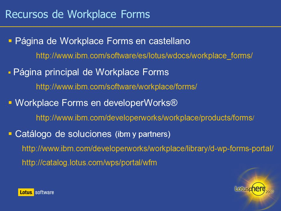 Recursos de Workplace Forms