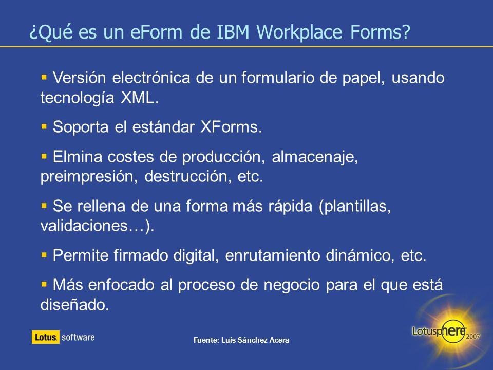 ¿Qué es un eForm de IBM Workplace Forms