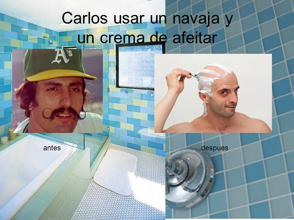 Carlos usar un navaja y un crema de afeitar