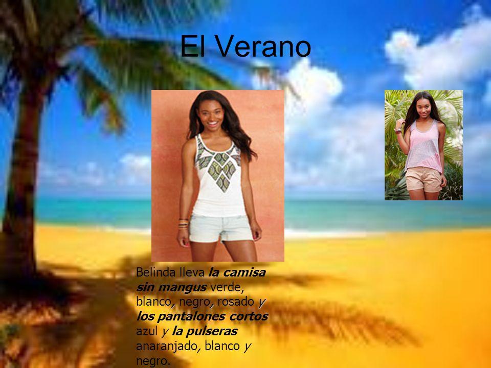 El VeranoBelinda lleva la camisa sin mangus verde, blanco, negro, rosado y los pantalones cortos azul y la pulseras anaranjado, blanco y negro.