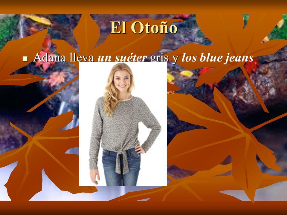 El Otoño Adana lleva un suéter gris y los blue jeans