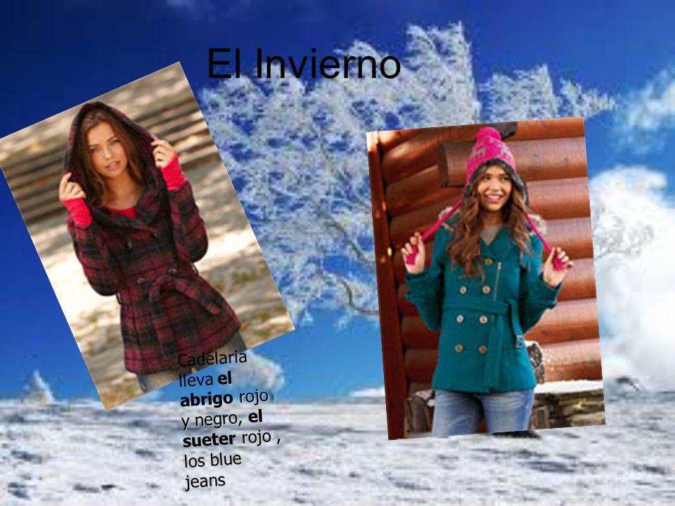 El Invierno Cadelaria lleva el abrigo rojo y negro, el sueter rojo , los blue jeans
