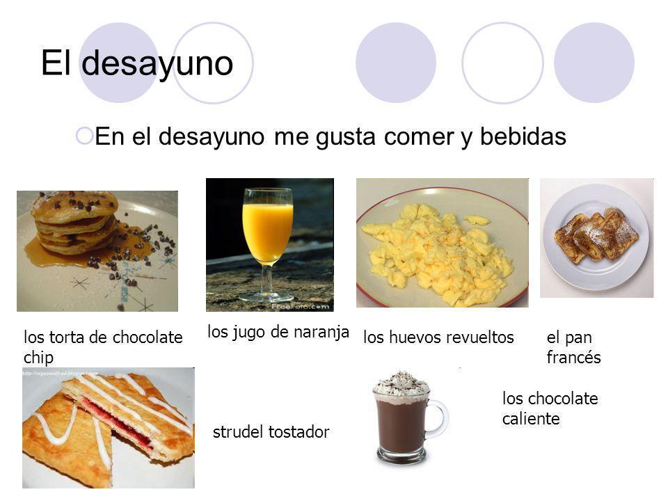 El desayuno En el desayuno me gusta comer y bebidas