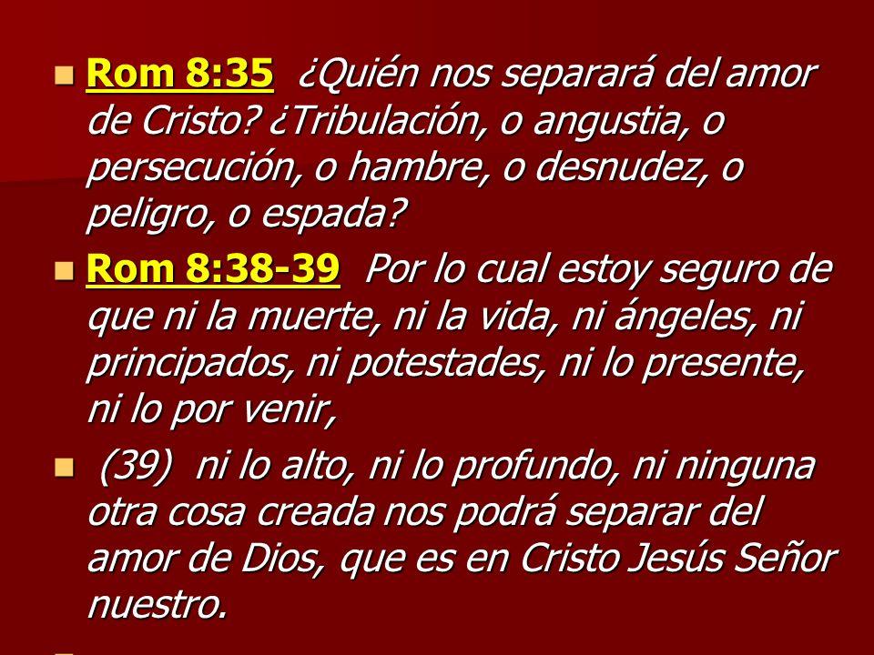 Rom 8:35 ¿Quién nos separará del amor de Cristo