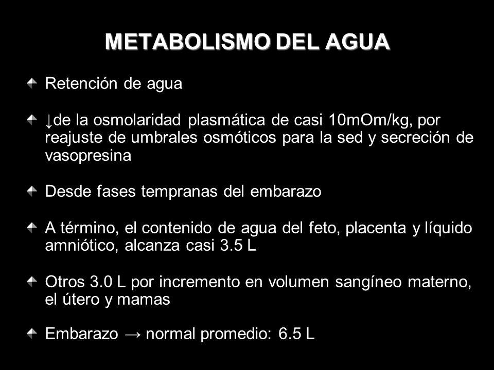 METABOLISMO DEL AGUA Retención de agua